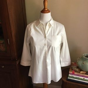 Buttons On The Back Stretch White Button Down Top
